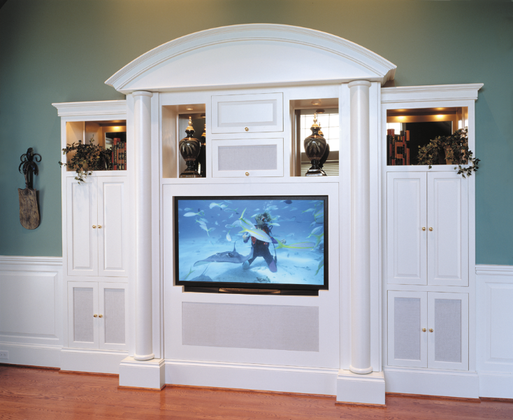 Built In Media Cabinet With White Lacquer Finish.