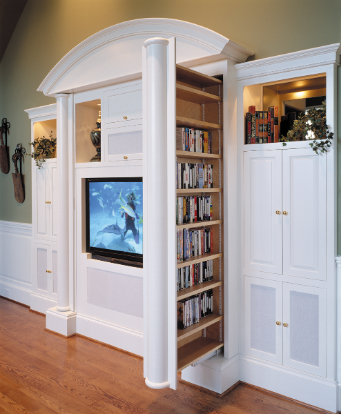 Media Cabinet With Vertical Storage Drawer.