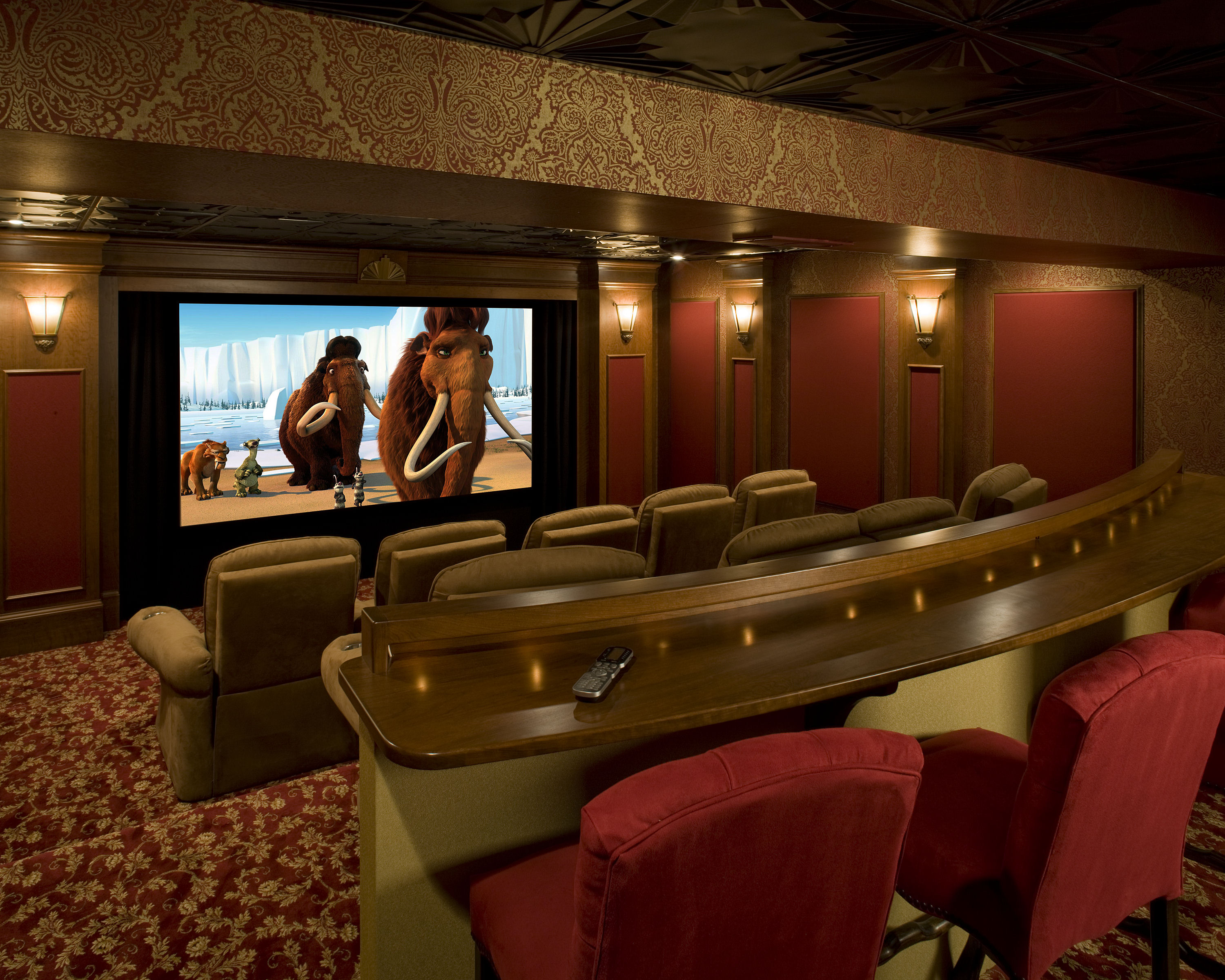 performance home theater with curtain closed english pub front view