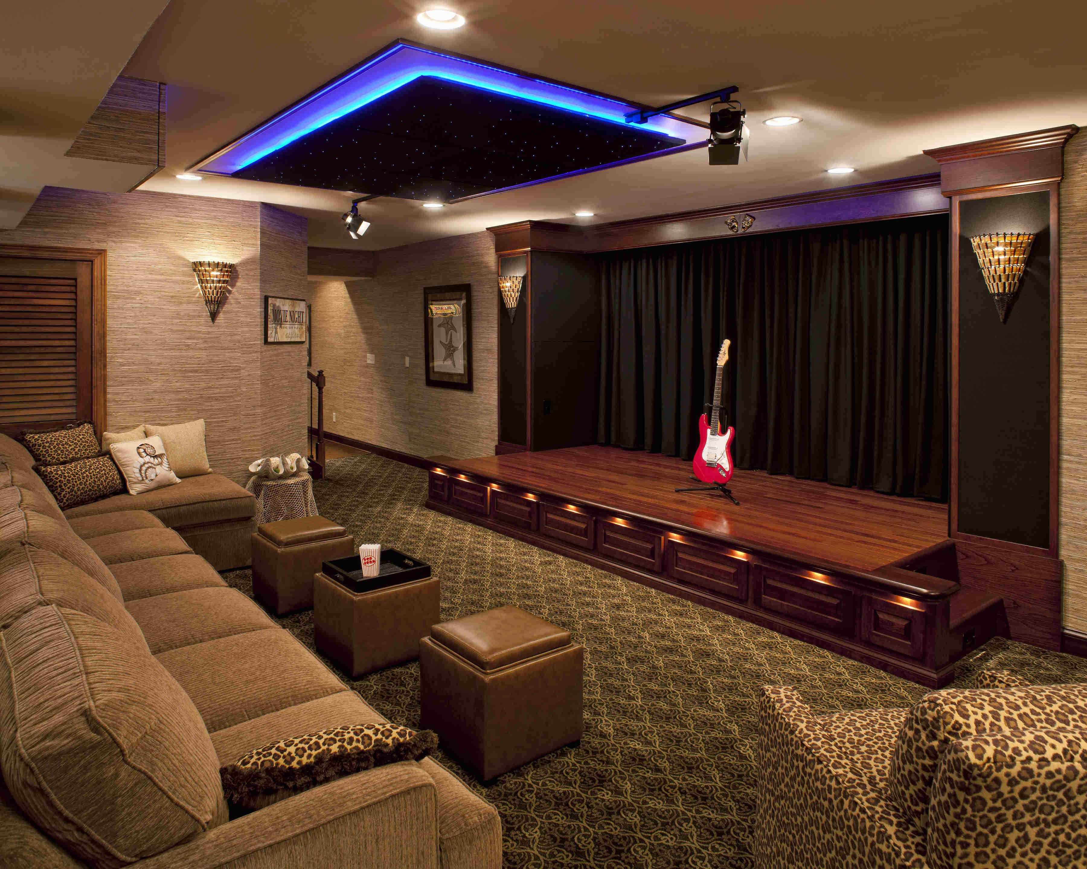 Custom Home Design Ideas foyer ideas Performance Home Theater With Curtain Closed