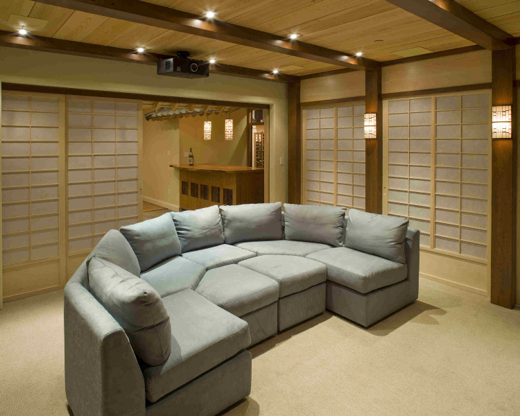Media Room Seating Ideas Part - 40: Japanese-theme-theater-rear-view