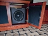 Basement Theater subwoofer cabinet open