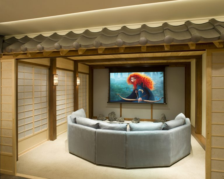 Asian Themed Home Theater with Bamboo Bar