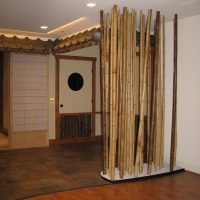 Asian Themed Home Theater with Bamboo garden
